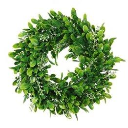 LinTimesTürkranz Wandkranz, Girlande Künstlich Pflanze mit Blumen und grünen Blättern für HochzeitenZuhause, Parties, Türen Und Feste - Grün - 1