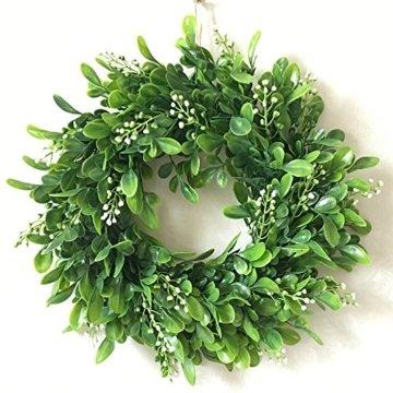 LinTimesTürkranz Wandkranz, Girlande Künstlich Pflanze mit Blumen und grünen Blättern für HochzeitenZuhause, Parties, Türen Und Feste - Grün - 7