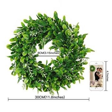 LinTimesTürkranz Wandkranz, Girlande Künstlich Pflanze mit Blumen und grünen Blättern für HochzeitenZuhause, Parties, Türen Und Feste - Grün - 9