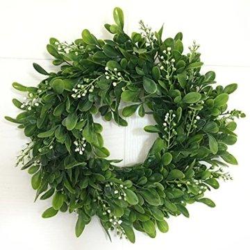LinTimesTürkranz Wandkranz, Girlande Künstlich Pflanze mit Blumen und grünen Blättern für HochzeitenZuhause, Parties, Türen Und Feste - Grün - 10