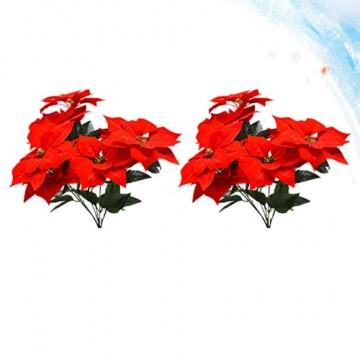LIOOBO 2 Stück Faux künstliche rote Weihnachtsstern Busch Weihnachtsbaum Weihnachten Blumenstrauß Herzstück Ornament für Büro Dekor Weihnachtsschmuck - 2