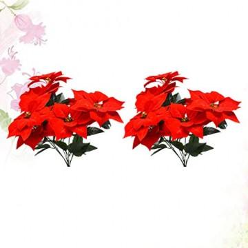 LIOOBO 2 Stück Faux künstliche rote Weihnachtsstern Busch Weihnachtsbaum Weihnachten Blumenstrauß Herzstück Ornament für Büro Dekor Weihnachtsschmuck - 3
