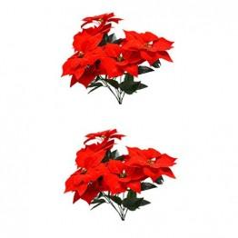 LIOOBO 2 Stück Faux künstliche rote Weihnachtsstern Busch Weihnachtsbaum Weihnachten Blumenstrauß Herzstück Ornament für Büro Dekor Weihnachtsschmuck - 1