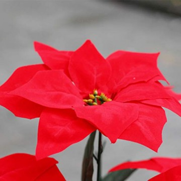 LIOOBO 2 Stück Faux künstliche rote Weihnachtsstern Busch Weihnachtsbaum Weihnachten Blumenstrauß Herzstück Ornament für Büro Dekor Weihnachtsschmuck - 5
