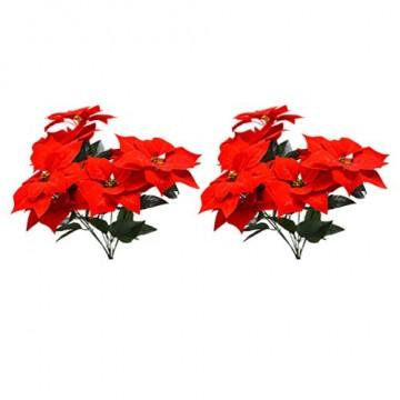 LIOOBO 2 Stück Faux künstliche rote Weihnachtsstern Busch Weihnachtsbaum Weihnachten Blumenstrauß Herzstück Ornament für Büro Dekor Weihnachtsschmuck - 6