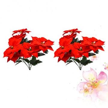 LIOOBO 2 Stück Faux künstliche rote Weihnachtsstern Busch Weihnachtsbaum Weihnachten Blumenstrauß Herzstück Ornament für Büro Dekor Weihnachtsschmuck - 7