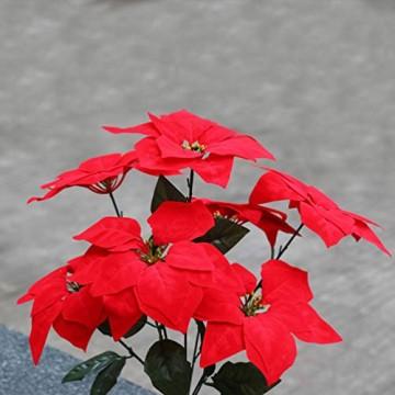LIOOBO 2 Stück Faux künstliche rote Weihnachtsstern Busch Weihnachtsbaum Weihnachten Blumenstrauß Herzstück Ornament für Büro Dekor Weihnachtsschmuck - 8