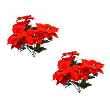 LIOOBO 2 Stück Faux künstliche rote Weihnachtsstern Busch Weihnachtsbaum Weihnachten Blumenstrauß Herzstück Ornament für Büro Dekor Weihnachtsschmuck - 9
