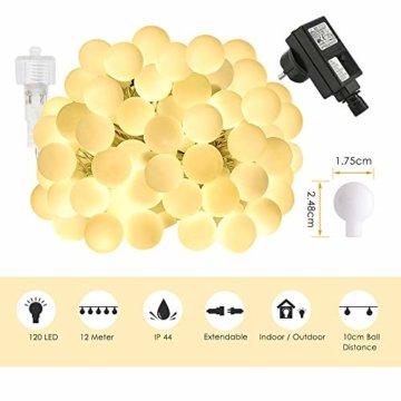 LOFTer Lichterkette 120er LEDs Lichterkette Innen 15M Kugel Lichterkette Warmweiß mit 8 Leuchtmodis Deko Lichterkette Strombetrieben für Garten, Party, Hochzeit, Wasserdicht - 2
