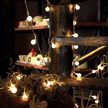 LOFTer Lichterkette 120er LEDs Lichterkette Innen 15M Kugel Lichterkette Warmweiß mit 8 Leuchtmodis Deko Lichterkette Strombetrieben für Garten, Party, Hochzeit, Wasserdicht - 4