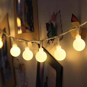 LOFTer Lichterkette 120er LEDs Lichterkette Innen 15M Kugel Lichterkette Warmweiß mit 8 Leuchtmodis Deko Lichterkette Strombetrieben für Garten, Party, Hochzeit, Wasserdicht - 1