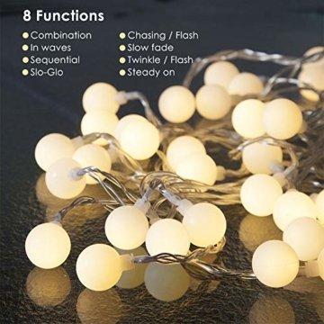 LOFTer Lichterkette 120er LEDs Lichterkette Innen 15M Kugel Lichterkette Warmweiß mit 8 Leuchtmodis Deko Lichterkette Strombetrieben für Garten, Party, Hochzeit, Wasserdicht - 5