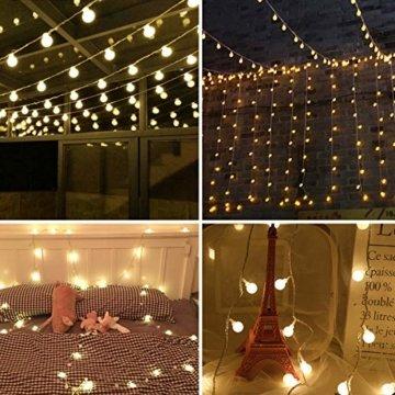 LOFTer Lichterkette 120er LEDs Lichterkette Innen 15M Kugel Lichterkette Warmweiß mit 8 Leuchtmodis Deko Lichterkette Strombetrieben für Garten, Party, Hochzeit, Wasserdicht - 7