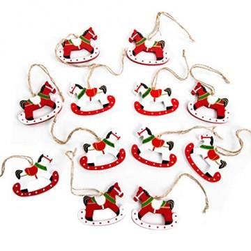 Logbuch-Verlag 12 kleine Schaukelpferde Weihnachtsanhänger rot weiß grün Holzpferd Pferd Geschenkanhänger zum Aufhängen Christbaumschmuck Weihnachtsbaum give-away - 1
