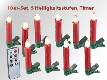 Lunartec Baumkerzen: 30er-Set LED-Weihnachtsbaum-Kerzen mit IR-Fernbedienung, rot (Kabellose Christbaumkerzen) - 6