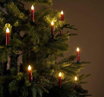 Lunartec Baumkerzen: 30er-Set LED-Weihnachtsbaum-Kerzen mit IR-Fernbedienung, rot (Kabellose Christbaumkerzen) - 8