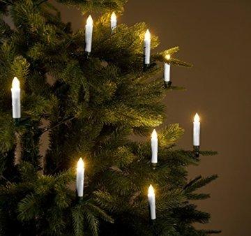 Lunartec Kabellose Kerzen: 20er-Set LED-Weihnachtsbaumkerzen mit Fernbedienung und Timer, Silber (Weihnachtskerzen LED) - 3