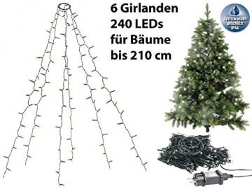 Lunartec Überwurflichterkette: Weihnachtsbaum-Überwurf-Lichterkette mit 6 Girlanden & 240 LEDs, IP44 (Baum Lichterkette mit Ring) - 3