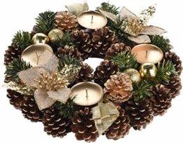 made2trade Adventskranz mit natürlicher Deko und Kerzenhaltern - Vergoldet - 1