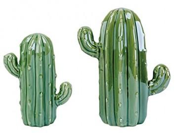 meindekoartikel Deko-Figur Kaktus aus Keramik - Grün (B14xT8xH18cm) - 2