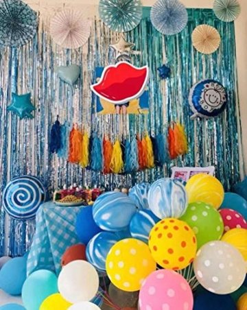 Metallische Lametta Vorhänge/Folie Hintergrund Fringe Vorhänge für Geburtstag Party/Hochzeit, DIY Photo Booth Dekorationen, Tür Fenster Hintergrund Foto Requisiten für Festival(1x2.5m) - 9
