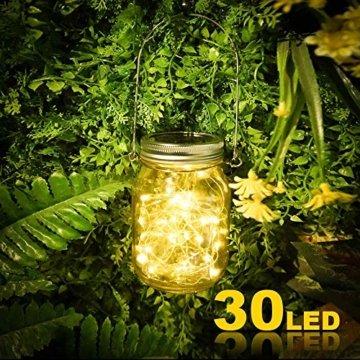 Molbory Solar Mason Jar Licht, 30 LED String Licht Außen Wasserdichte Glasgläser Garten Hängeleuchten, LED Weihnachtsbeleuchtung Lichterkette für Party, Hochzeitsdekoration (Warmweiß) - 2