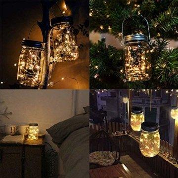 Molbory Solar Mason Jar Licht, 30 LED String Licht Außen Wasserdichte Glasgläser Garten Hängeleuchten, LED Weihnachtsbeleuchtung Lichterkette für Party, Hochzeitsdekoration (Warmweiß) - 3