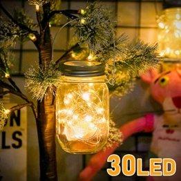 Molbory Solar Mason Jar Licht, 30 LED String Licht Außen Wasserdichte Glasgläser Garten Hängeleuchten, LED Weihnachtsbeleuchtung Lichterkette für Party, Hochzeitsdekoration (Warmweiß) - 1