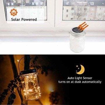 Molbory Solar Mason Jar Licht, 30 LED String Licht Außen Wasserdichte Glasgläser Garten Hängeleuchten, LED Weihnachtsbeleuchtung Lichterkette für Party, Hochzeitsdekoration (Warmweiß) - 4