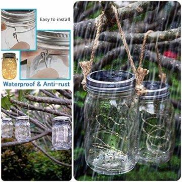 Molbory Solar Mason Jar Licht, 30 LED String Licht Außen Wasserdichte Glasgläser Garten Hängeleuchten, LED Weihnachtsbeleuchtung Lichterkette für Party, Hochzeitsdekoration (Warmweiß) - 5