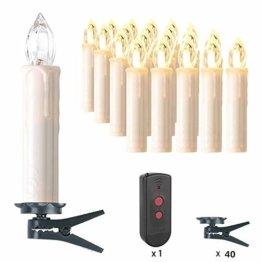 MVPOWER 20er Weinachten LED Kerzen Kabellos Warmweiß Weihnachtskerzen Christbaumkerzen Dimmen Flackern Baumkerze-Set,LED-Lichtfarbe Warmweiß - 1