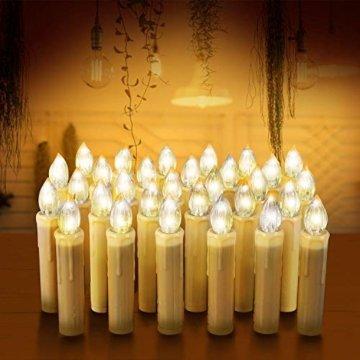 MVPOWER 20er Weinachten LED Kerzen Kabellos Warmweiß Weihnachtskerzen Christbaumkerzen Dimmen Flackern Baumkerze-Set,LED-Lichtfarbe Warmweiß - 4