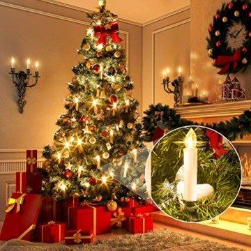 MVPOWER 20er Weinachten LED Kerzen Kabellos Warmweiß Weihnachtskerzen Christbaumkerzen Dimmen Flackern Baumkerze-Set,LED-Lichtfarbe Warmweiß - 5