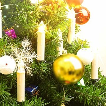 MVPOWER 20er Weinachten LED Kerzen Kabellos Warmweiß Weihnachtskerzen Christbaumkerzen Dimmen Flackern Baumkerze-Set,LED-Lichtfarbe Warmweiß - 6