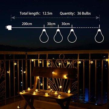 MYCARBON LED Lichterkette außen 12.5M 36er Birnen wasserdicht Lichterkette Outdoor/Indoor Lichterkette Glühbirnen mit stecker Deko für Garten Zimmer Bar Balkon Party 4 Ersatzbirnen Warmweiß - 4