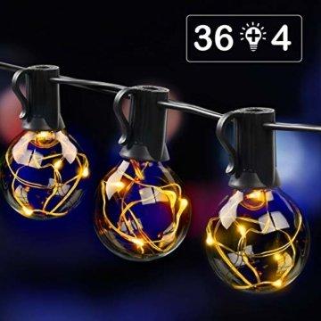 MYCARBON LED Lichterkette außen 12.5M 36er Birnen wasserdicht Lichterkette Outdoor/Indoor Lichterkette Glühbirnen mit stecker Deko für Garten Zimmer Bar Balkon Party 4 Ersatzbirnen Warmweiß - 1