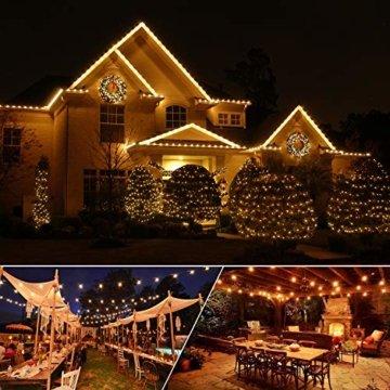 MYCARBON LED Lichterkette außen 12.5M 36er Birnen wasserdicht Lichterkette Outdoor/Indoor Lichterkette Glühbirnen mit stecker Deko für Garten Zimmer Bar Balkon Party 4 Ersatzbirnen Warmweiß - 9