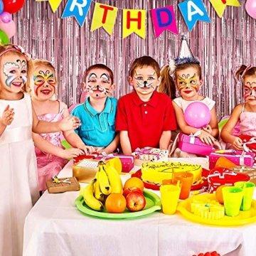 Nakeey 20 Stück Lametta Vorhang Rosa, Herz Folienballon Rosa Glitzervorhang, Hintergrund Fringe Vorhänge für Geburtstag Hochzeitsdeko Party Silvester Deko - 3