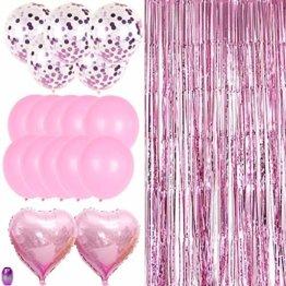 Nakeey 20 Stück Lametta Vorhang Rosa, Herz Folienballon Rosa Glitzervorhang, Hintergrund Fringe Vorhänge für Geburtstag Hochzeitsdeko Party Silvester Deko - 1