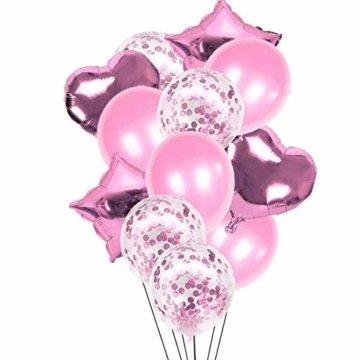 Nakeey 20 Stück Lametta Vorhang Rosa, Herz Folienballon Rosa Glitzervorhang, Hintergrund Fringe Vorhänge für Geburtstag Hochzeitsdeko Party Silvester Deko - 4