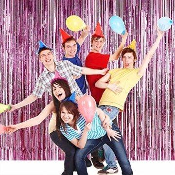 Nakeey 20 Stück Lametta Vorhang Rosa, Herz Folienballon Rosa Glitzervorhang, Hintergrund Fringe Vorhänge für Geburtstag Hochzeitsdeko Party Silvester Deko - 6