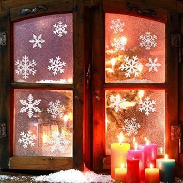 Naler 96 Schneeflocken Fensterbild Abnehmbare Fensterdeko Statisch Haftende PVC Aufkleber Winter Dekoration - 4