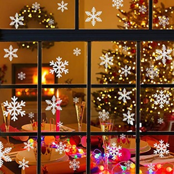 Naler 96 Schneeflocken Fensterbild Abnehmbare Fensterdeko Statisch Haftende PVC Aufkleber Winter Dekoration - 6