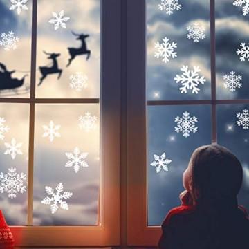 Naler 96 Schneeflocken Fensterbild Abnehmbare Fensterdeko Statisch Haftende PVC Aufkleber Winter Dekoration - 8