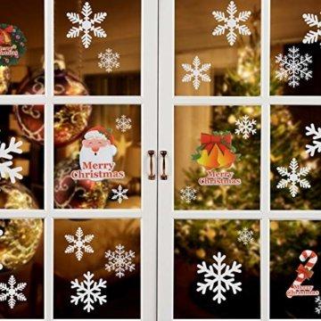 Naler 96 Schneeflocken Fensterbild Abnehmbare Fensterdeko Statisch Haftende PVC Aufkleber Winter Dekoration - 1