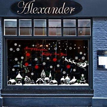 Naler Weihnachten Fensterbild Abnehmbare Fensterdeko Statisch Haftende PVC Aufkleber Winter Dekoration - 2