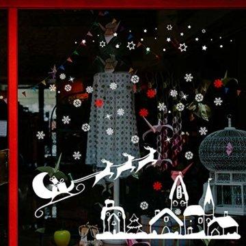 Naler Weihnachten Fensterbild Abnehmbare Fensterdeko Statisch Haftende PVC Aufkleber Winter Dekoration - 4
