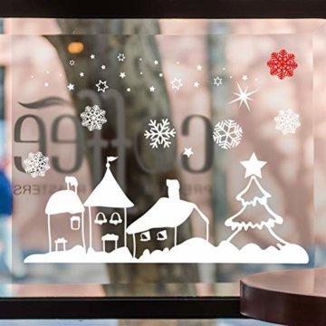 Naler Weihnachten Fensterbild Abnehmbare Fensterdeko Statisch Haftende PVC Aufkleber Winter Dekoration - 5