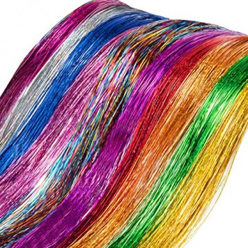 NATUCE 4800 Stück 12 Farben Haar Lametta Stränge, 120CM Haarlametta Verlängerungs-Set Funkelnde Glänzende Haar Lametta Extensions, Glänzende Haar Lametta Extensions Multi-Farben Haar Streifen - 3