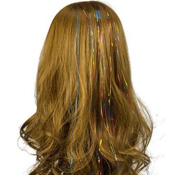 NATUCE 4800 Stück 12 Farben Haar Lametta Stränge, 120CM Haarlametta Verlängerungs-Set Funkelnde Glänzende Haar Lametta Extensions, Glänzende Haar Lametta Extensions Multi-Farben Haar Streifen - 5